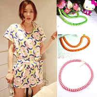 Hot Selling Charm Trendsetter Weave Fluorescence Blend Alloy Rope Necklace Necklet