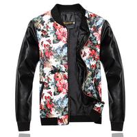 Leather sleeve splice coat Water jackets Fashion mens coats Flowers print Baseball shirt Freeshipping New 2014 Autumn
