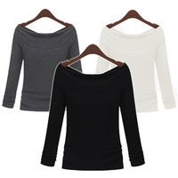 New 2014 Spring And Autumn Casual Women Solid Long Sleeve Slash Neck Base Tops Tees T Shirts, Black, Gray, White, S, M, L ,XL