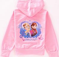 New Style Children Hoodies Girls Frozen Anna'and Elsa's Long Sleeve clothes Wear zipper  Cartoon Hoodies jacket coats BOS.F10