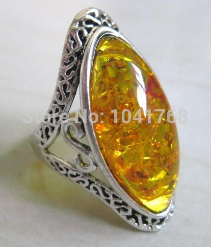 New BEST âmbar anéis atacado anel de prata tibetano inlay âmbar grátis frete(China (Mainland))