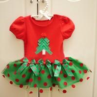 Red Autumn Summer Dot Baby Christmas Tree Dresses Gauze Party Princess Dress for Girls Children Clothing, A-bg111