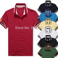 2014 Summer Men's Cotton Shirts Men's Lapel Solid color Short Sleeve T-Shirt Free Shipping 1PCS