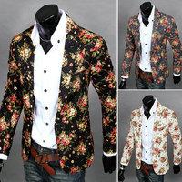 New 2014 Brand Mens Blazer Jacket Fashion Casual Sports Men Suit Jacket Blazer Flower Pattern Large Size Free Shipping Promotion