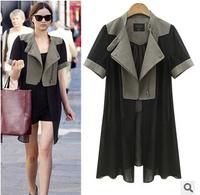 Designers 2014 Women Trench Coat Plus Size Zipper Female Coat Punk Double x-Long Coat Brand Spring Jacket For Women Autumn qn06