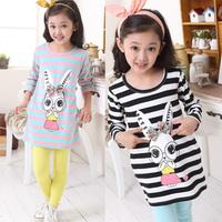 2014 autumn children's clothing female  cartoon 100% medium-long cotton basic shirt stripe top t-shirt long-sleeve