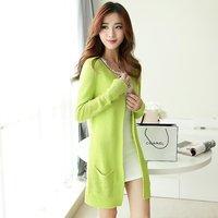 2014 autumn sweater outerwear Women long-sleeve cardigan female medium-long slim candy color sweater