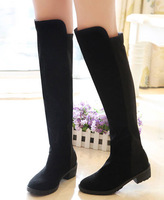 Spring And Autumn Over-the-knee Women Platform Faux Suede Chunky High Heels Black Spring Autumn Boots Casual Ladies Shoes Retro