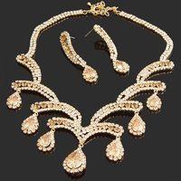 Neoglory Jewelry Outlets wedding anniversary Jewelry set gold brown  NJ-840 Rihood Jewelry  drop earrings 2015
