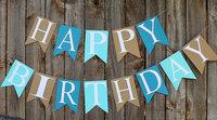 Happy Birthday Banner  Paper  Garland, Blue Birthday Decor, Photo Prop