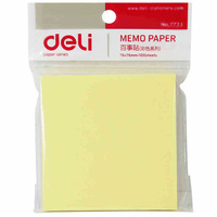 100 Sheets Deli 7733  Note Paper Memo Pad Paper Message Sticker   76 * 76mm Yellow Color Stationery Office & School Supplies