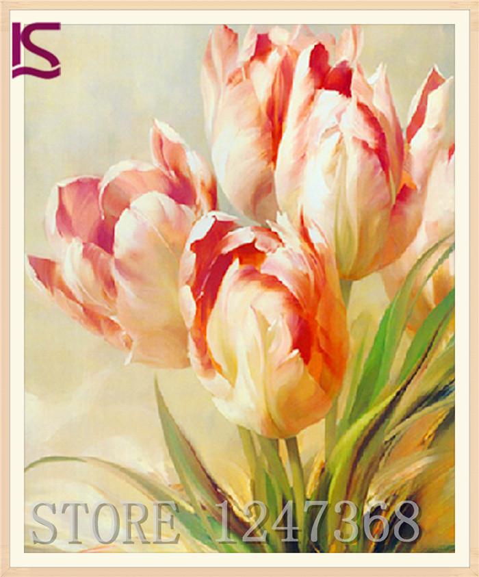 DIY Diamond Painting Needlework NoveltySquare Full Diamond Embroidery Pattern Flower Tulip Set For Painting 25*31 B002(China (Mainland))