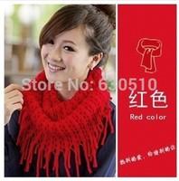 2014 Fashion  hot Women scarf  Warm Knit Neck Circle Wool Blend  tassels Cowl Snood Long Scarf Shawl Wrap(sc0013)