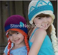 N04 ,Retail HOT winter new children baby  girl hat FROZEN Anna and Elsa fashion Warm hat knitted hat ,fit : 0--12year