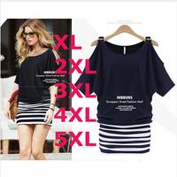 Mm summer 2014 plus size clothing fashion loose shoulder width slim stripe patchwork women blouse dress HHY5659LMX free shipping