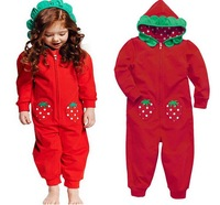 5sets/lot 2014 New Autumn red Baby Girls Romper Hooded Children Outfits, A-bg272