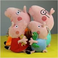 4Pcs/Lot Peppa Pig Daddy Mummy George Peppa Pig family Plush Toy Anime Movie TV Peppa Pig Stuffed Animals Dolls Kids