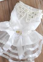 2014 New Hotting Noble Dog Wedding Dress  Pet Dress Dog Clothing White XS S M L XL