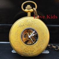 Free shipping,Vintage Style Copper Case Time Black Hollow Flower pattern Skeleton Men Women Mechanical Self-wind pocket Watch
