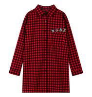 DW-02 New 2014 Autumn Korean women shirts blouses Large size Fashion Casual Harajuku Female shirt Patterns European style Plaid