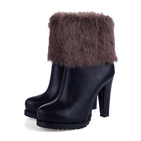 Rabbit fur  Feather Black  Platform High Heels Ankle Boots 2014 New Fashion Winter  Round Toe Leather Shoes 555 - 8