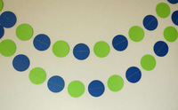 12 Feets Blue / Green Birthday Party Decoration, Paper Garland
