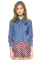 Sweet Bow Denim Slim Shirt Long-sleeved Jacket Casual Blouse Ladies Blusa Camisa Blue