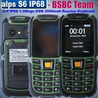2014 New alps S6 IP68 Rugged waterproof shockproof dustproof phone 2.4 inch dual sim 1.3mega pixels FM GSM Russian keyboard