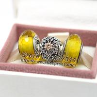 New 925 Sterling Silver Golden Autumn Inner Radiance Charm Women Jewelry Set box Fit European Charm Bracelet & Necklace Gift Set