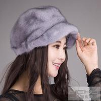 Mink skin hat fur hat bucolics Women hat genuine leather winter hat 2014 cap