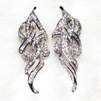 Long Hollow With Zirconium Earrings Pure Handmade, Superb Techniques Pebble 162 Particle, T Shaped Stone Have 40 Grains Bijoux