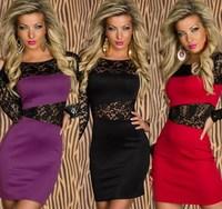 2014 New Women Sexy Lace Patchwork Package Hip Clubwear Bandage Dresses Bodycon Dress Vestidos, Red, Purple, Black, M, XL