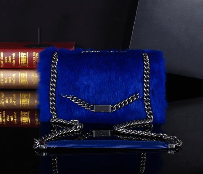 Fashion Rabbit fur sheepskin Genuine leather 23*11CM Women shoulder c bag casual female c bag famou brand *5(China (Mainland))