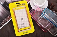 Newest metal electroplating bumper +Transparent grid hard back cover case for iPhone 6  Free shipping