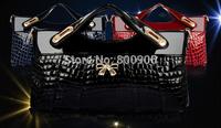 retail fashional women  leather handbags  shoulder   aligator messenger bags , woman 3 colors hand bag
