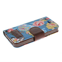 New Beautiful Flower Pattern Flip Leather Wallet Stand Case Cover With Screen Protector For Apple Iphone 5 5s case