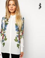 Europe style 2014 winter new women long-sleeved flower printed shirt lapel chiffon women blouse,WB0438