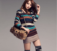 2014 New Women's Autumn and Winter Thin Multi-color Stripe Princess Long Sleeve O-neck  Knitted Sweaters Tops Free Shippng #0019
