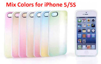 1PCS For iPhone 4 4S 5 5S Case 8Colors Luxury Rainbow Colorful TPU + PC Matte Plastic Gradient Case Covers Mobile phone bags
