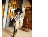 70cm*50cm Exclusive custom classic European leg fringed cape with plaid woolen shawl coat parenting models