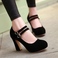 2014 spring single shoes scrub velvet strap platform high-heeled shoes shallow mouth thick heels round toe shoes