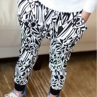 2014 New Fashion Spring Autumn Unisex Children Clothing Girls Black White Print Casual Boys Harem Pants Kids