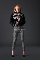 2014 new hot sell lamb with rex rabbit fur collar short  design coat
