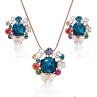 Fashion Colorful Rhinestone White Enamel Butterful and Flowers Necklace & Earring Jewelry Set Wholesale for Women NK029