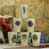 Free shippingWarring States basara Tokugawa Ieyasu clover Kwai Sanada Yukimura Nobunaga Japanese family crest cup water
