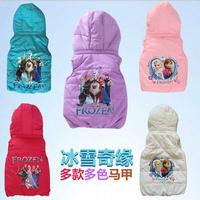 2014 Hot Girls Frozen Elsa Anna Padded Jacket Vest Cotton Waistcoat Snow Coat 10styles