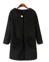 European 2014 Brand New Fashion ZA Women Autumn Winter Fur Coat Woolen Cashmere Black White Casual Long Outerwear Free shipping