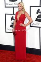 Miranda Lambert Grammys 2014 New Arrival Red Deep V-neck Celebrity Red Carpet Dresses