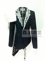 2014 New Style Fashion Male Sparkling Diamond Feather Irregular Slim Blazer Singer costume suit outwear