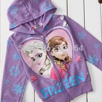 Frozen Anna'and Elsa's Long Sleeve Children Hoodies for Girls clothes Wear zipper  Cartoon Hoodies & Sweatshirts coats BOS.F1